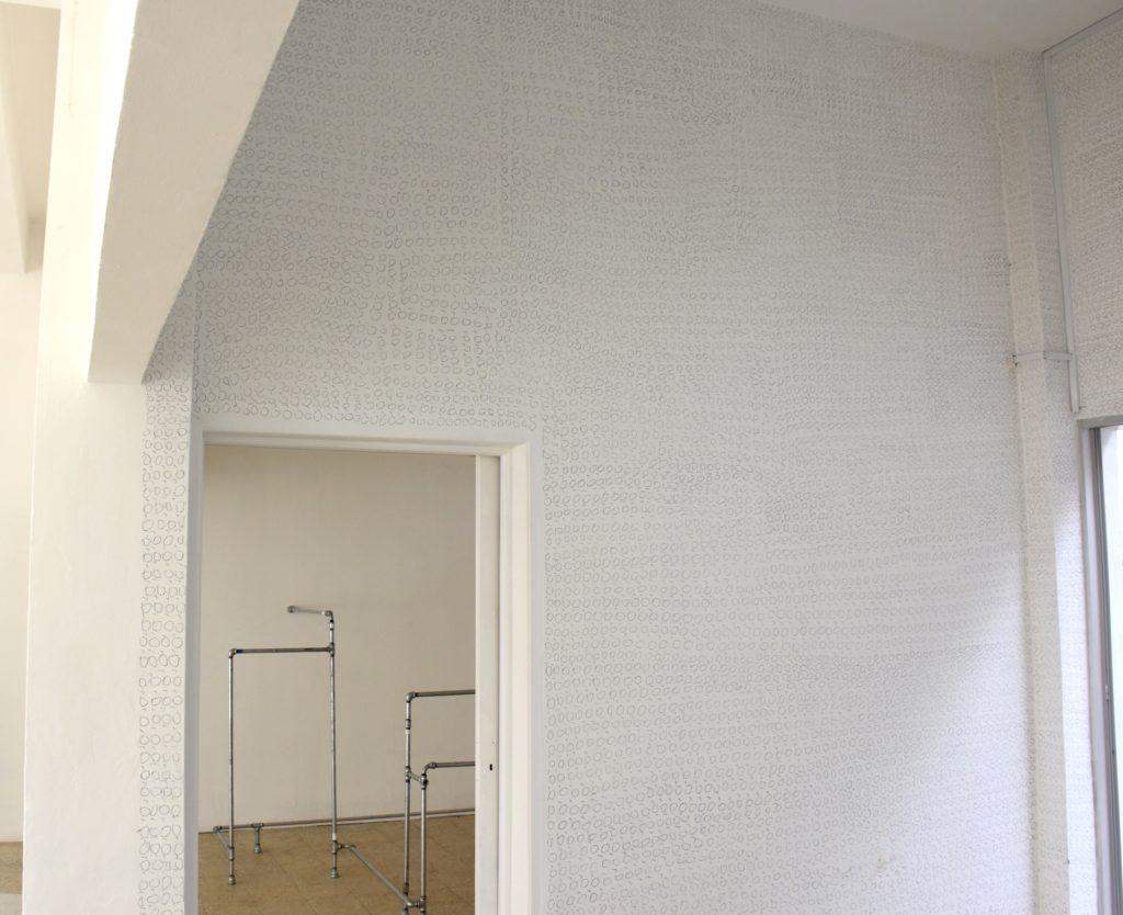 article with accent, (2017) (square room site specific installation) , graphite, white paint
